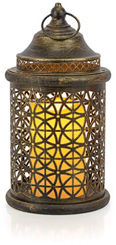 VP Home Decorative Flickering Flameless LED Candle Lantern with Remote Control (Rustic Brushed Gold)