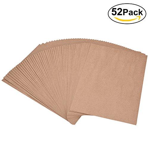 Willingood Kraftpapier, 52 Blätter, DIN A4, Naturkarton, 180g hochwertige Qualität, Brown Natural Craft Card, Kraftkarton