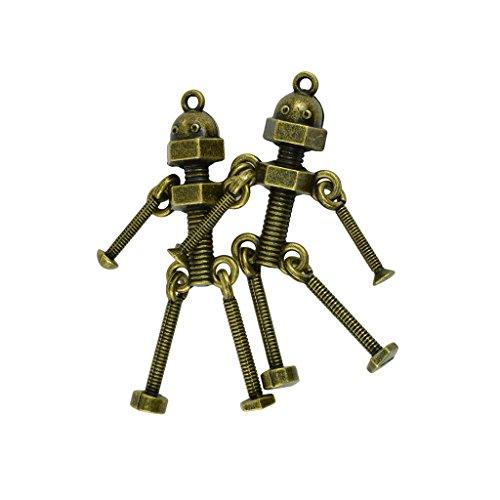 MagiDeal 2pcs Pendentif Robot Vis Métallique Rétro Pr DIY Collier Choker Hommes - Bronze