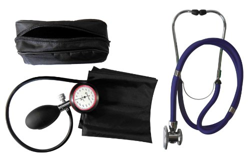 Blutdruckmessgerät 1-Schlauch Oberarm + Stethoskop Rappaport/Doppelkopf Stethoskop dunkelblau 1 Stück (= 1 Set- 2 Artikel)