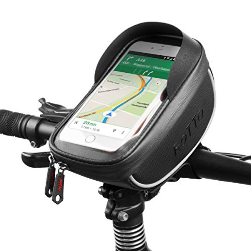 ROTTO Fahrrad Lenkertasche Handytasche Handyhalterung Navigationshalterung Wasserdicht (Schwarz v3)