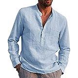 BLACKHEI Hombres Camisas 2021 Primavera Moda Hombres Manga Larga V-Cuello Casual Playa Lino Camisa, azul claro, 3XL