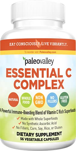 Paleovalley: Essential C Complex - Vitamin C Food Supplement with Organic Superfoods for Immune Support - 1 Pack - 450 mg per Serving - No Synthetic Ascorbic Acid - No GMO, Fillers or Gluten