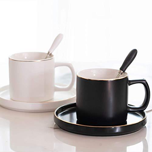 SOPRETY 2er Set Kaffeetassen aus Keramik, Tassen 200ml mit Löffel und Untertasse, Partnertasse für Kaffee, Tee und mehr, Hochzeit Valentinstag Jubiläum, Schwarz und Weiß