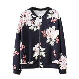 MORCHANMode Femmes Automne Hiver Casual Impression Floral imprimé Top Manteau Outwear Sweat-Shirt Veste Manteau Cardigan Manteau Blouson(FR-50 / CN-2XL,Noir)