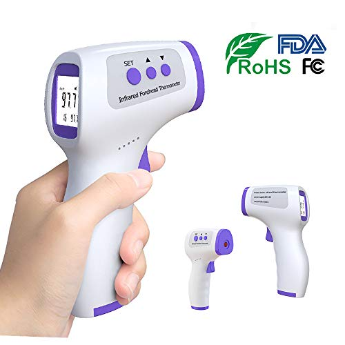 Forehead Thermometer Kids Adults Baby - Non-Contact Digital Infrared Forehead Thermometer for Fever with LCD Display No-Touch Accurate Instant Readings