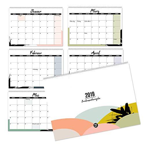 Mehrseitiger Design Wandkalender A4 quer (2019): Praktischer Kalender für ein trendiges Interior