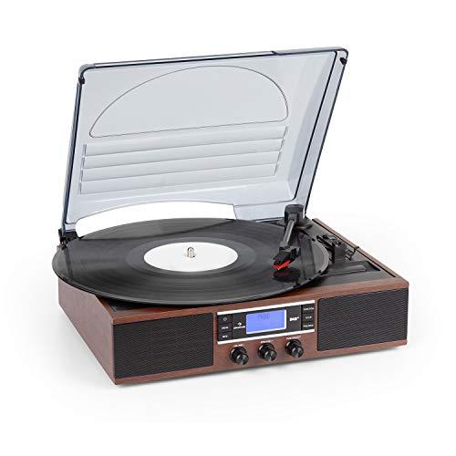 auna TT-138 Dab Tocadiscos- Sintonizador de Radio Dab+/FM, 2 Altavoces Integrados, Transmisión por Correa, 2 velocidades: 33 y 45 RPM, PantallaDot Matrix, Salida de línea RCA, Marrón