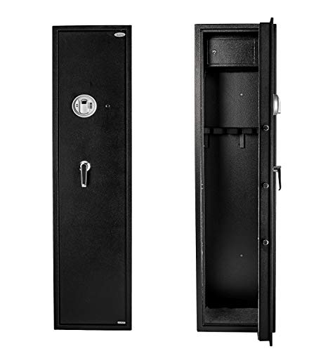 Quicktec Larger and Deeper Gun Safe, Quick Access 5-Gun Large Metal Rifle Safe Security Cabinet (with/Without Accessory) with Separate Lock Box