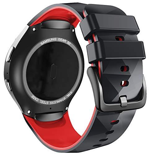 ANBEST Pulsera de Silicona Compatible con Correa Sport Gear S2 para Samsung Gear S2 SM-R720/SM-R730 Smart Watch (no para Gear S2 SM-R732), Grande, Negro/Rojo