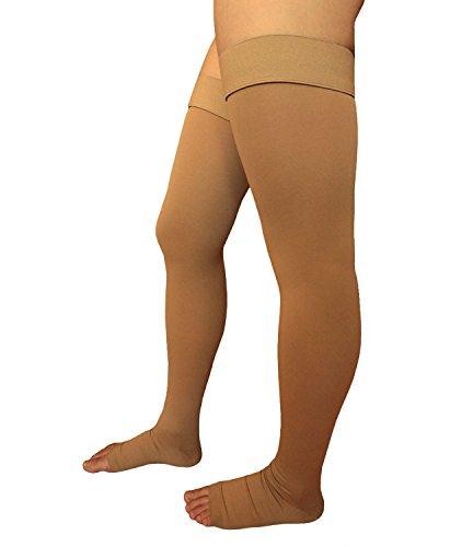 runee Thigh High abierto Toe Medias de compresión (, alta calidad, mejor para variz, DVT, edema, Spider sentido, hinchazón, el embarazo, Viajes, 2XL, Beige