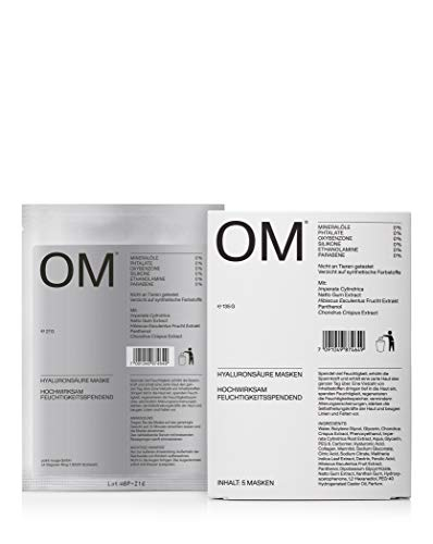 OM - Hyaluronsäure Masken - Tuchmaske - 5 Stück - Made in Germany, ohne synthetische Farbstoffe, ohne Tierversuche