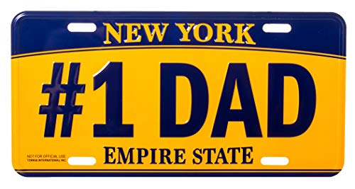 Artisan Owl #1 Dad New York Empire State Blue and Gold Souvenir License Plate