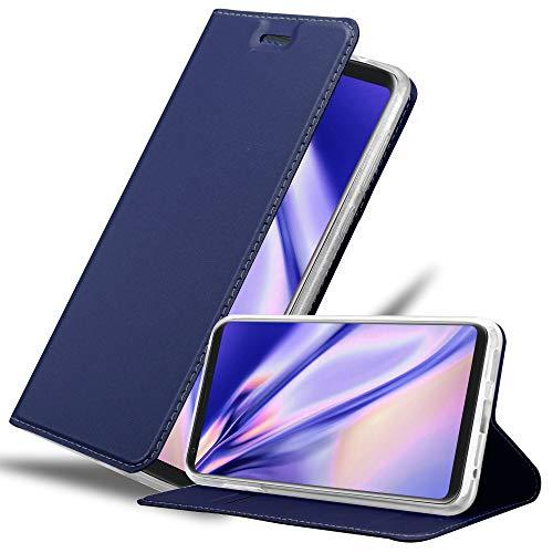 Cadorabo Hülle für LG V30 in Classy DUNKEL BLAU – Handyhülle mit Magnetverschluss, Standfunktion & Kartenfach – Hülle Cover Schutzhülle Etui Tasche Book Klapp Style