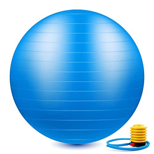 Palla Fitness, Palla Pilates, Fitball 65cm, Palla da Ginnastica Antiscivolo e Antiscoppio con Pompa Rapida per Fitness Yoga e Pilates