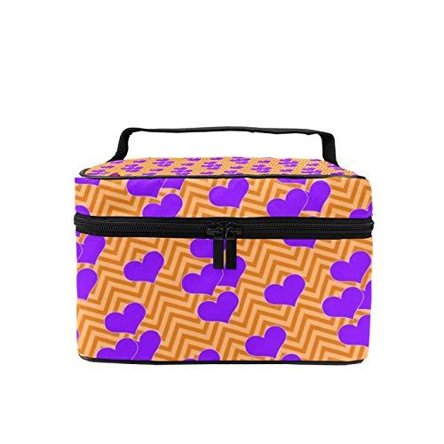 Bolsa de maquillaje de viaje grande bolsa de cosméticos púrpura corazones onda textura bruja maquillaje caso organizador con bolsa de malla para mujeres niñas