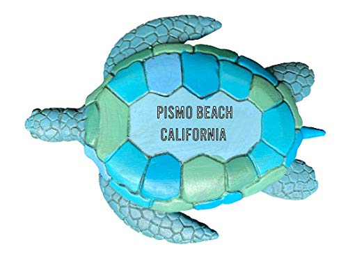 Pismo Beach California Souvenir Hand Painted Resin Refrigerator Magnet Sunset and Green Turtle Design 3-Inch Approximately