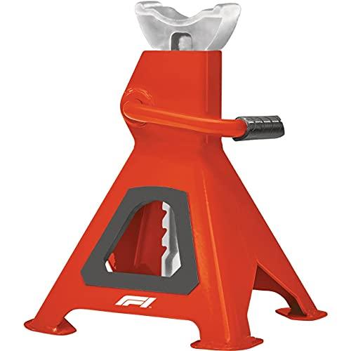 KEINEMARKE 10807 Caballete de 3 toneladas, Altura Regulable de 280 mm a 420 mm, con Mecanismo de trinquete y Perno de Seguridad, Rojo