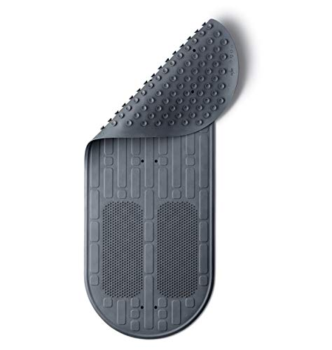 Medline Momentum Stand Steady Bath and Shower Mat with Exfoliating Foot Scrubber, Non Slip Bath Mat for Tub, Microban Antimicrobial Protection, Gray, (Model: MDSMOMMATG)