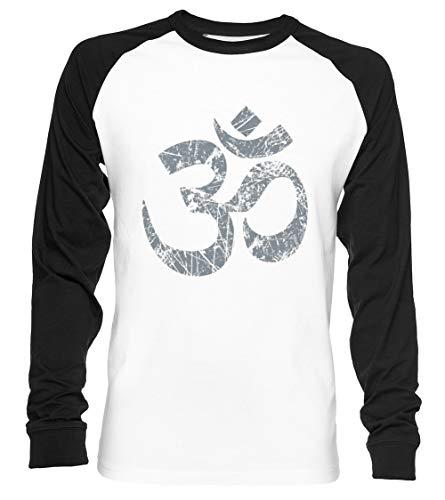 Om Yoga Espiritual Símbolo En Afligido Estilo Unisex Camiseta De Béisbol Manga...