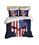 100% Cotton American Flag and Punisher Skull Themed, Skull Bedding Set, Quilt/Duvet Cover Set, Full/Queen Size, No Flat or No Fitted Sheet (3 Pcs)
