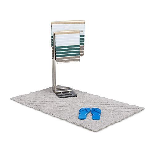 Relaxdays Badmat hoogpolig van katoen, 120 x 70 cm Badmat voor douche, knuffelige badmat met patroon, grijs