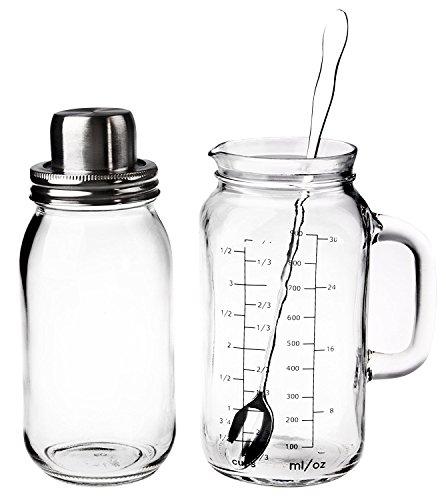 Home Essentials & Beyond Mixologist 3 Piece Shaker/Pitcher, Clear