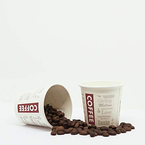 200 Vasos de Cartón Desechables para Café Espresso 120 ml + Agitadores de Madera para Café para Llevar. Coffee to go