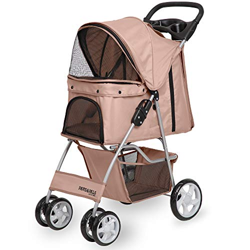 Paws & Pals 4 Wheeler Elite Jogger Pet Stroller Cat/Dog Easy to Walk Folding Travel Carrier, Beige