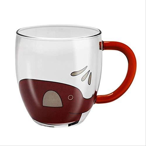 Mokken GJDBBLY koffiemok leuke cartoon olifant mok voor thee bier mok tumbler glazen reismokken drinkglazen vrienden cadeau 5 * 8.1 * 9cm rood