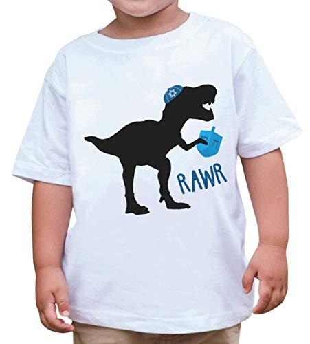 7 ate 9 Apparel Kids Funny Dinosaur Hanukkah T-Shirt 3T White