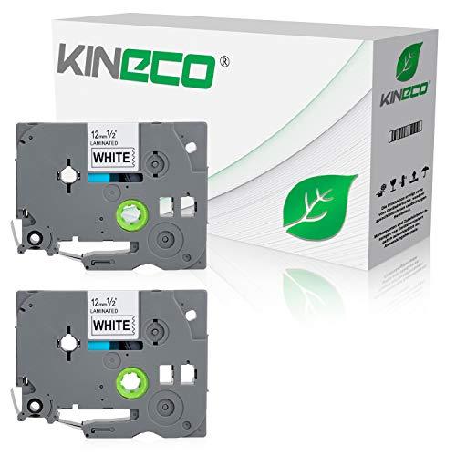 Kineco 2 Schriftbänder kompatibel für Brother TZE-231 12mm/8m - Schwarz auf Weiß P-Touch 1000 1010 1080 1090 1200 1200P 1230PC 1250 1280 1290 1750 1800 1850 200 220 2400 2450 2460 2470 2480 300 310