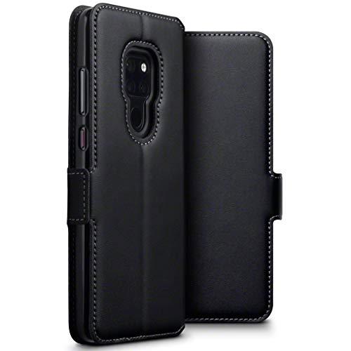 TERRAPIN Funda Huawei Mate 20 Cartera de auténtico Cuero, Adaptable en posicion Horizontal - Negro