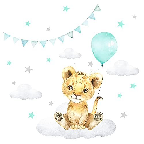 Little Deco Muursticker muursticker kinderkamer decoratie meisjes jongens dieren leeuw ballon wolken sticker baby…