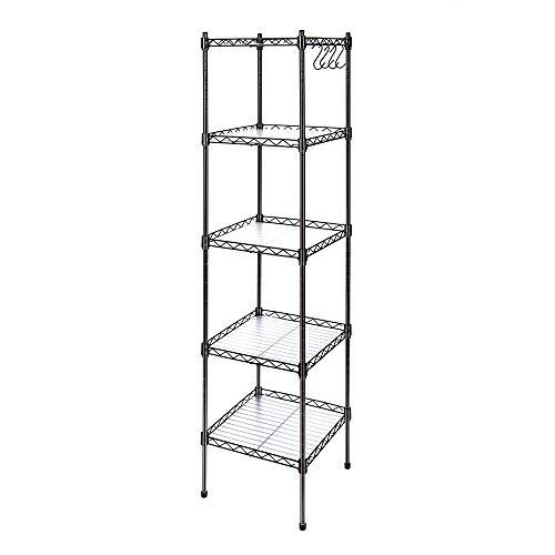 Devo 6-Shelf Wire Shelving Unit Storage Adjustable, Metal Storage Shelves, Steel Organizer Rack for Kitchen/Garage/Bathroom/Laundry, Stainless Side Hooks, Black (21.3Lx11.4Wx63.0H)