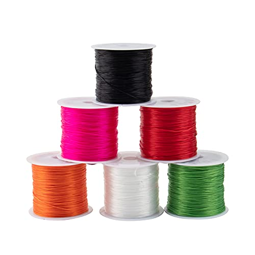 AUEAR, 6 Rolls 0.5 mm Stretch Elastic Rope Cords Beading String Cord Thread for Jewelry Making Beading Bracelet