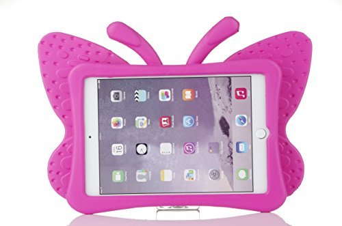 HCHA iPad Pro 9.7 Case Kids iPad Air/Air 2 Case Butterfly Cartoon Lightweight Shockproof Durable Cases EVA Foam Protective Cases and Covers iPad 5 6 New iPad 2017 iPad Pro 9.7 (Rose Red)