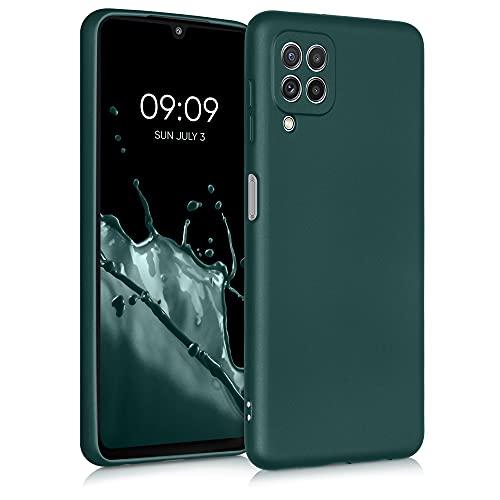 kwmobile Carcasa Compatible con Samsung Galaxy A22 4G - Funda de Silicona para móvil - Cover Trasero en petróleo Metalizado