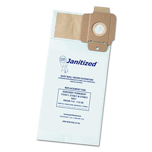 janitized jankacv302bolsa de filtro de vacío diseñado para adaptarse a/Tornado Karcher CV30/1CV38/1, CV48/2(funda de 100)