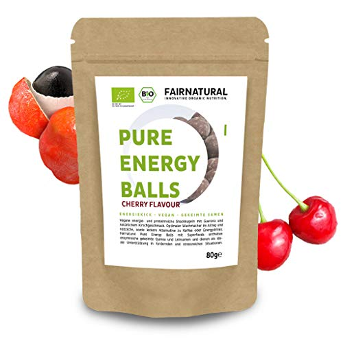 Fairnatural NEU Bio Energy Balls [1 Ball = 1 Kaffee] » Gesunder Snack als Alternative zu Energy-Drinks & Cafe « Aus Guarana mit Acai, Superfoods & Vegan Protein - Immun-Boost mit Kirschgeschmack (80g)