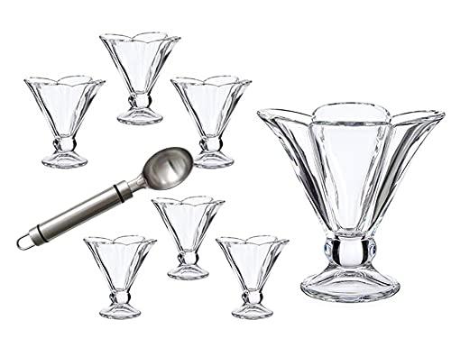 Set de 6 copas de helado de cristal resistente con forma de flor - cuchara de metal para servir helado- copa de 30cl