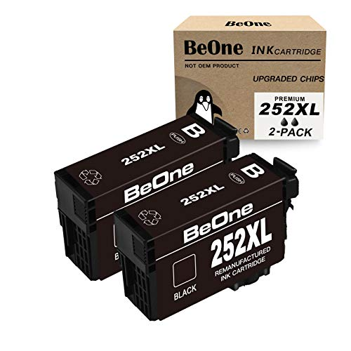 BeOne Remanufactured Ink Cartridge Replacement for Epson 252 XL 252XL T252 T252XL Black Ink to Use with Workforce WF-7720 WF-3640 WF-7710 WF-3620 WF-7110 WF-7620 WF-7610 WF-7210 WF-3630 Printer (2 BK)