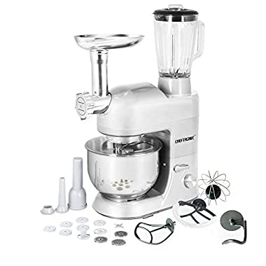 CHEFTRONIC 3 In 1 Upgraded Stand Mixer, 650W Kitchen Mixer SM-1086 with 5.3QT Bowl, Pouring Shield, Grinder, Blender, Pasta Dies, Sausage Maker for Mother's Day, Xmas, Wedding, Birthday Gift