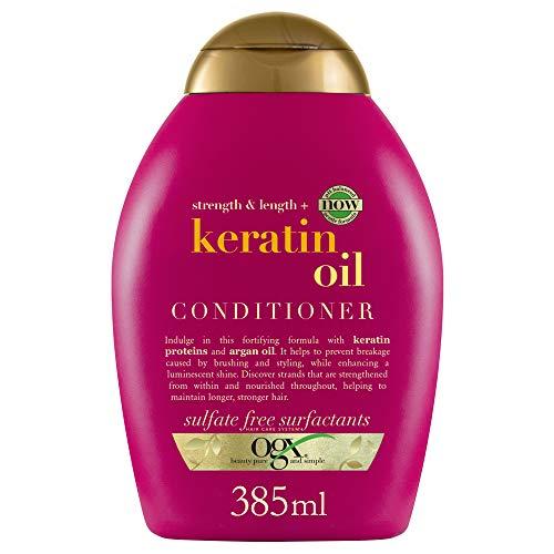 OGX Acondicionador sin Sulfatos para Cabellos Quebradizos, Aceite de Keratina, 385 ml