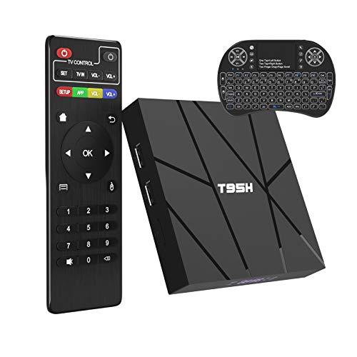 Android TV Box 10.0 2GB RAM 16GB ROM Smart TV Box with Backlist Mini Keyboard Wireless, T95H Allwinner H616 Quad-Core 2020 6K TV Box with 64bit,H.265, 3D, 2.4G WiFi, 10/100M Ethernet etc.
