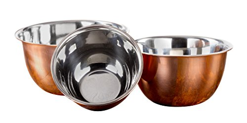 3 Pc Copper Stainless Steel Mixing Bowl Set - Baking Prep Bowls - Copper Mixing Bowls