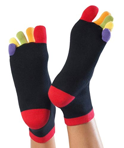 Knitido Rainbows, Kurze Zehensocken mit bunten Zehen, 95% Baumwolle, 1 er Pack, für Damen, Herren und Kinder