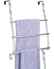 mDesign Perchero de puerta en acero - Colgador de ropa con tres barras para toallas, puloveres o chaquetas - Toallero colgante para puerta sin tornillos - Para puertas de hasta 5,1 cm de espesor