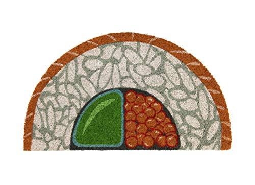 Fisura DM0805 Felpudo Sushi Entrada Casa Original y Divertido Formas 70x40 cm Antideslizante, PVC, Coco, Semicircular