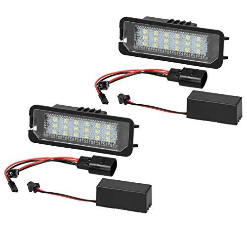 ECD Germany 2 x LED Kennzeichenbeleuchtung mit E-Prüfzeichen - 6000K Xenon Weiß - Canbus - Plug & Play - Fehlerfrei - LED Kennzeichenleuchte mit Zulassung Nummernschildbeleuchtung